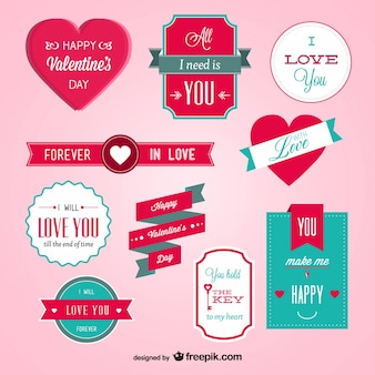 Valentine's day badges Free Vector