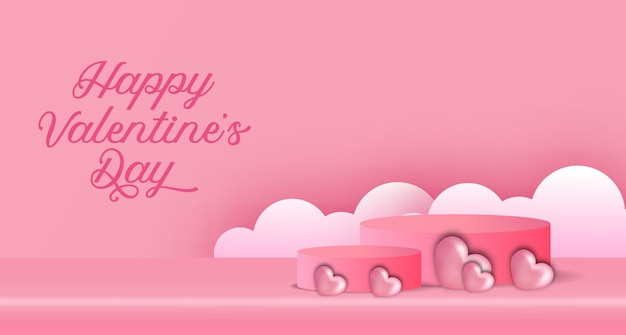 Valentine's day   banner advertising with podium product display 3d cylinder and heart shape illustration and cloud paper cut style