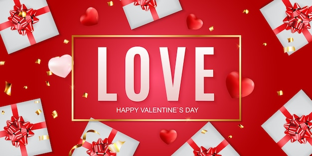 Valentine's day banner background. template for advertising, web, social media and fashion ads.