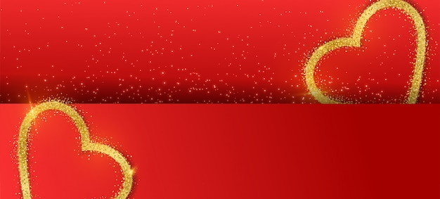 Valentine's day banner background with glitter gold heart.