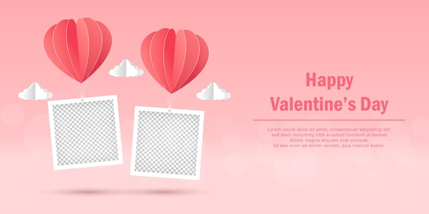 Valentine's day banner of blank photo frame with heart shape balloon