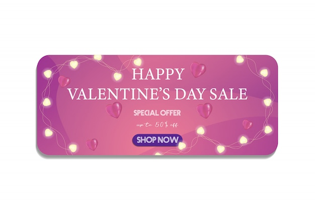 Valentine's day banner, flyer for special sale offer with discount with garland lights and heart balloon. now