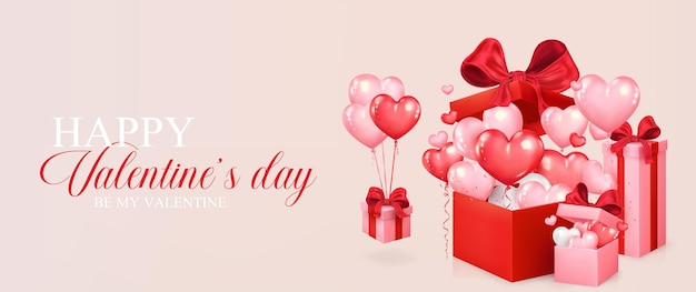 Valentine's day banner. heart shaped balloons fly out of red gift box. romantic design