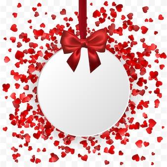 バレンタインデーのバナー。赤いリボンと絹のような弓でぶら下がっているハートラウンドフレームバナー