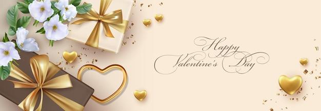 バレンタインデーのバナー。白い美しい花、黄金の心と現実的な贈り物との休日の構成
