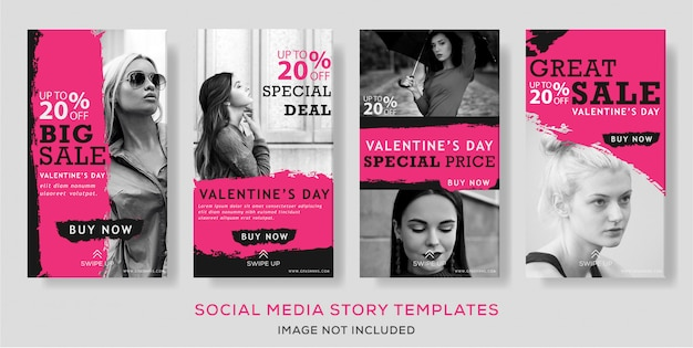 Valentine's day banner story template vector