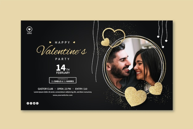 Valentine's day banner template with photo