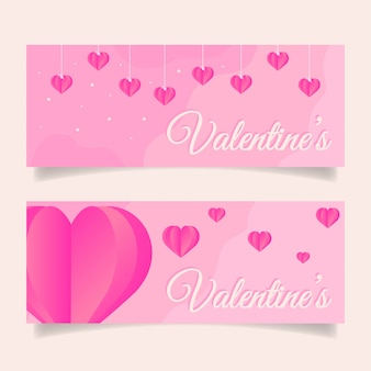 Valentine's day banner template with pink heart decoration.