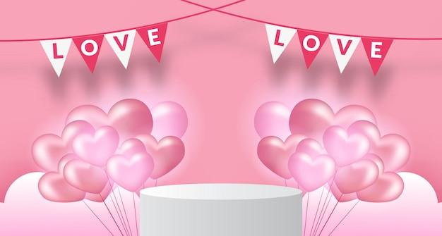 3d 현실적인 심장 모양 풍선 소프트 핑크 파스텔 배경으로 무대 받침대 연단 제품 디스플레이와 발렌타인 배너 템플릿