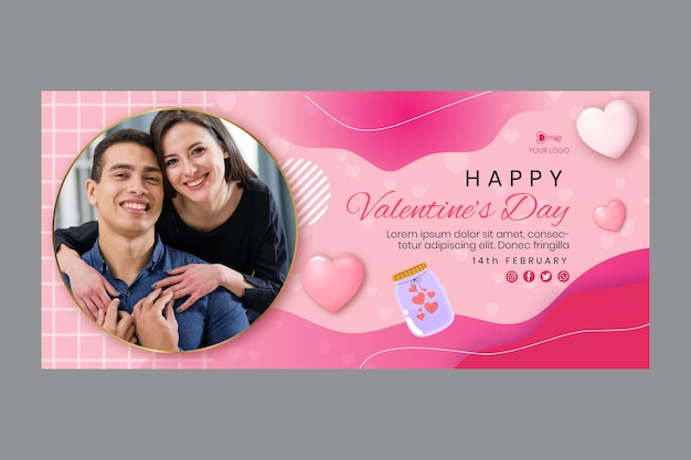 Valentine's day banner template Free Vector