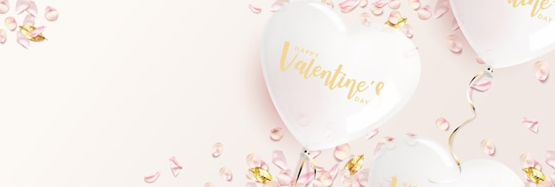 Valentine's day banner. white heart shaped balloon with pink rose petals, golden leaves.