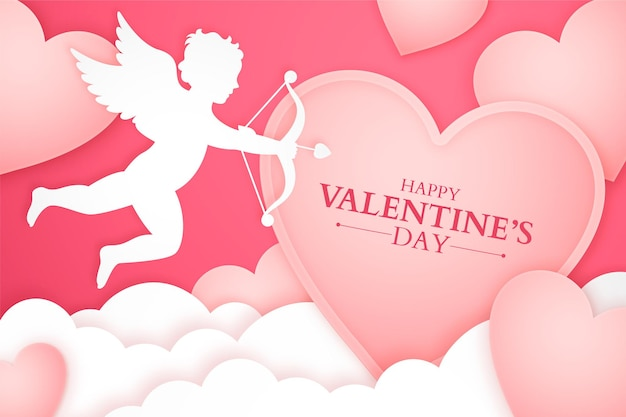 Valentine's day banner with cupid silhouette and paper clouds and hearts, romantic papercut background