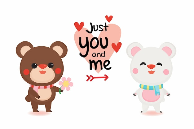 Valentine's day banner with cute bear on pastel background.