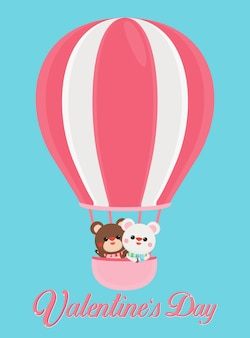 Valentine's day banner with cute bears on pastel background.