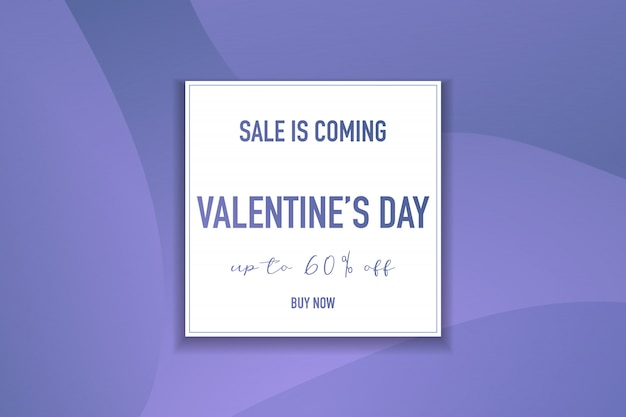Valentine's day banner with different typefaces and gradient purple background