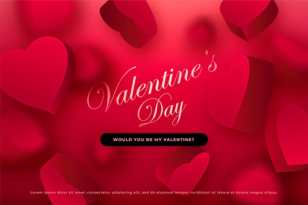 Valentine's day banner with falling  hearts, passionate red background