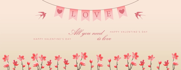 Valentine's day banner with flowers and hanging decorative festive pennants with the text love