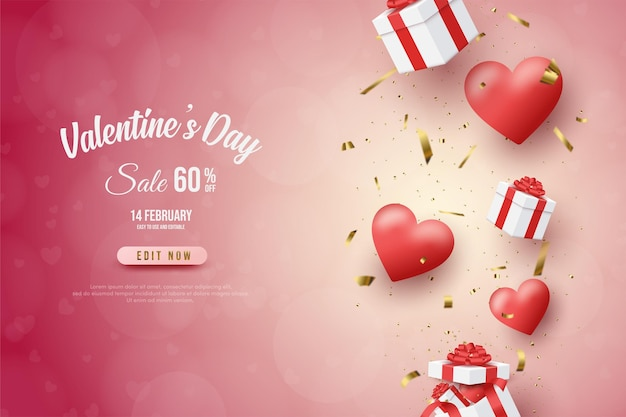 Valentine's day banner with gift box illustration and  balloons.