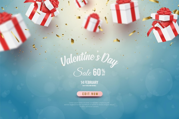 Valentine's day banner with  gift box