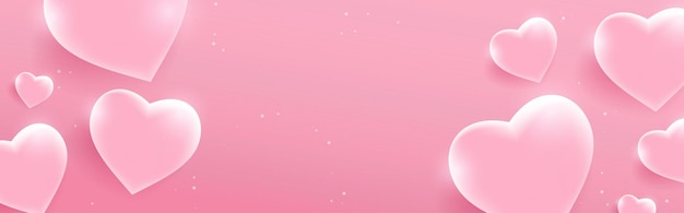 Valentine's day banner with glossy pink hearts