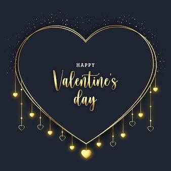 День святого валентина баннер с золотыми сердечками на темном фоне