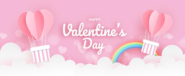 День святого валентина баннер с воздушными шарами сердца.