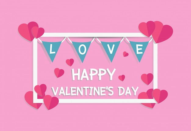 Valentine's day banner with heart paper craft style