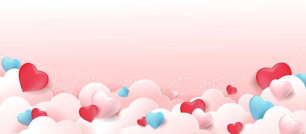 ハート型の風船が付いたバレンタインデーのバナー。