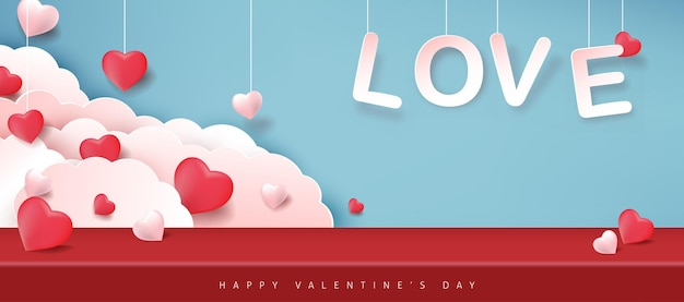 Valentine's day banner with heart shaped balloons.