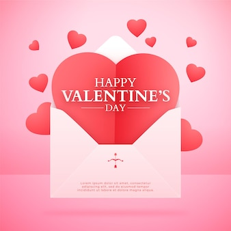 Valentine's day banner with love letter and paper hearts, lovely pink background