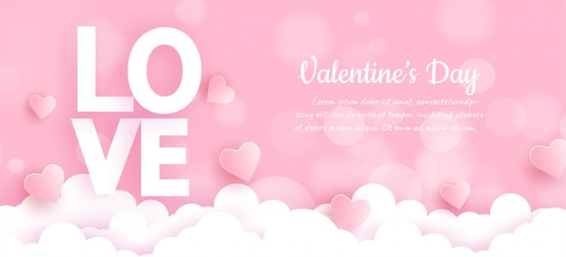 Valentine's day banner with love word and hearts on clouds Premium Vector