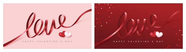Valentine's day banner with love word ribbon lettering