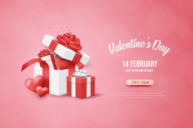 Valentine's day banner with open  gift box.