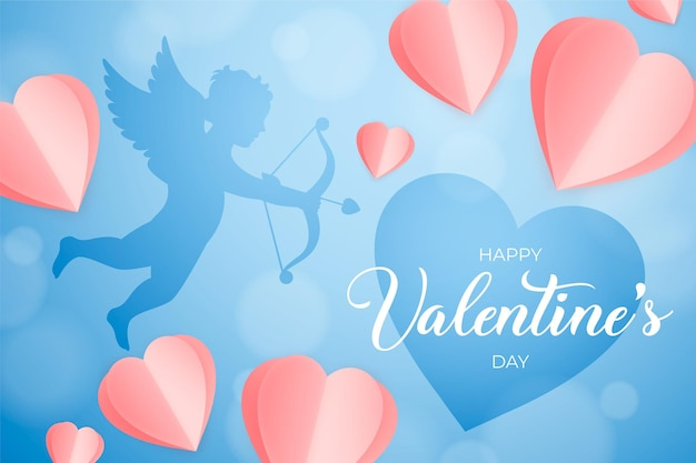 Valentine's day banner with paper hearts and cupid silhouette, romantic blue background
