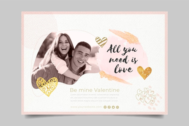 Valentine's day banner with photo template