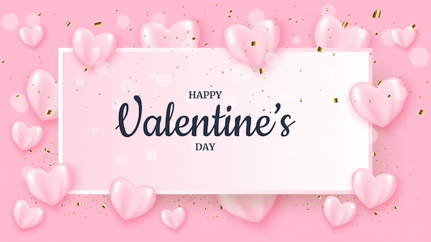 Valentine's day banner with pink 3d love balloons.