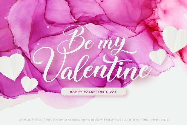분홍색과 보라색 알코올 잉크로 발렌타인 배너, 그린 수채화 배경