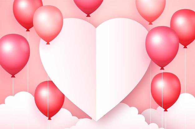 Valentine's day banner with pink balloons and paper heart, romantic pink background