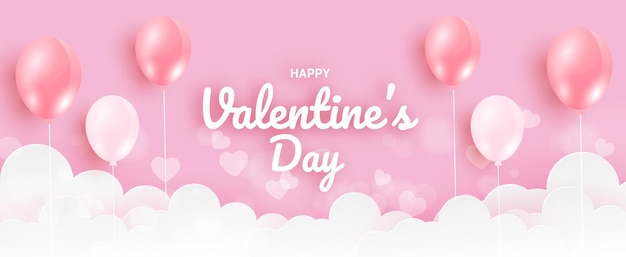 Valentine's day banner with pink balloons .