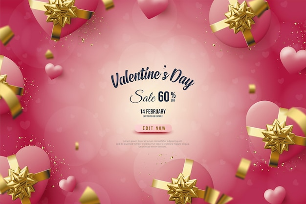 Valentine's day banner with pink love gift box and circle shape.