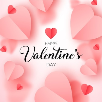 Valentine's day banner with pink and red paper hearts, romantic papercut background