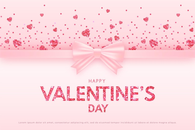 Valentine's day banner with pink ribbon and glittering floating hearts, delicate pink background