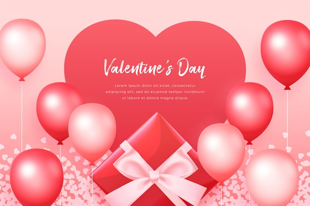 Valentine's day banner with red gift box, balloons and floating hearts, romantic red background