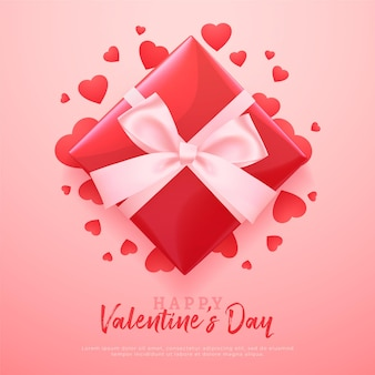 Valentine's day banner with red gift box and painted hearts, romantic red background