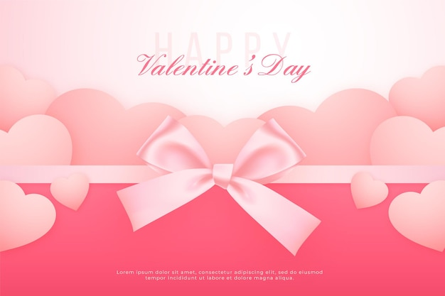 Valentine's day banner with ribbon and paper hearts, lovely pink background