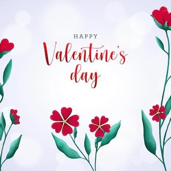 День святого валентина баннер с акварельными цветочными сердечками