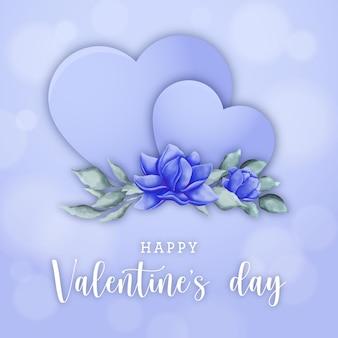 День святого валентина баннер с акварельными цветами на голубых сердцах