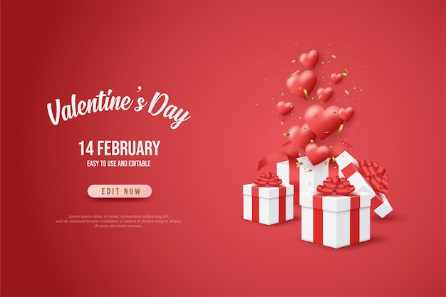 Valentine's day banner with white gift boxes and beautiful red balloons.