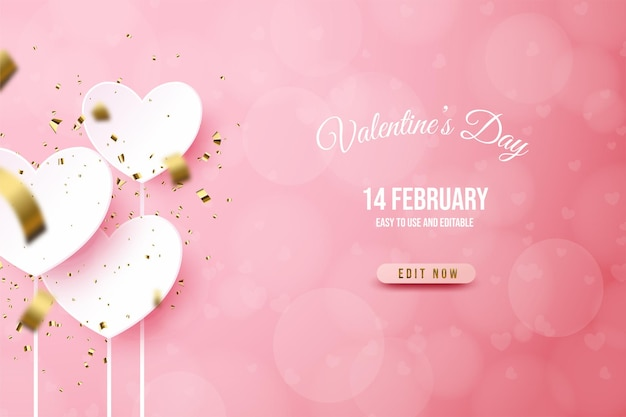 Valentine's day banner with white love plate on pink background.