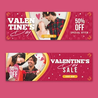 Valentine's day banners collection with photo